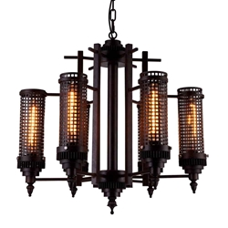 """28"""" 6 Light Up Chandelier with Rust finish"""