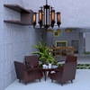 """Picture of 28"""" 6 Light Up Chandelier with Rust finish"""