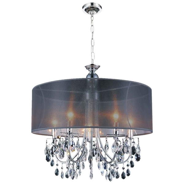 """Picture of 28"""" 8 Light Drum Shade Chandelier with Chrome finish"""