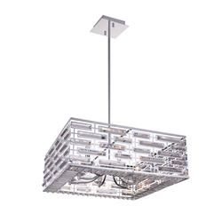 """28"""" 8 Light Drum Shade Chandelier with Chrome finish"""