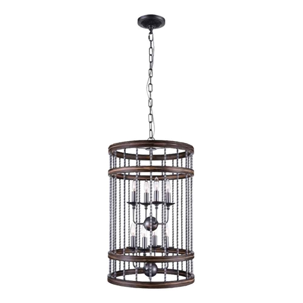 "Picture of 28"" 8 Light Drum Shade Chandelier with Gun Metal finish"
