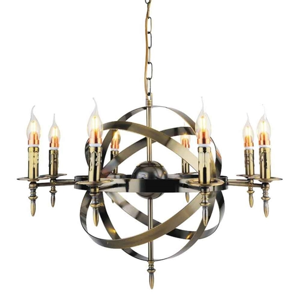 "Picture of 28"" 8 Light Up Chandelier with Antique Bronze finish"