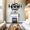 """Picture of 28"""" 8 Light Up Chandelier with Black finish"""