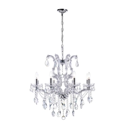 "28"" 8 Light Up Chandelier with Chrome finish"
