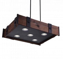"""28"""" LED Drum Shade Island Light with Black & Wood finish"""