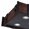 "Picture of 28"" LED Drum Shade Island Light with Black & Wood finish"