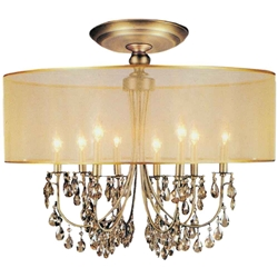 "28"" Organza Contemporary Round Crystal Flush Mount Ceiling Lamp Antique Brass Finish Champagne Shade and Crystals 8 Lights"