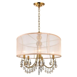 "28"" Organza Contemporary Round Crystal Pendant Chandelier Antique Brass Finish Champagne Shade and Crystals 8 Lights"