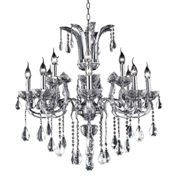 """28"""" Vittoria Traditional Crystal Candle Round Chandelier Polished Chrome 8 + 4 Lights"""