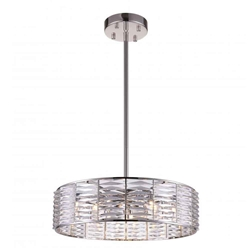 "29"" 12 Light Down Chandelier with Bright Nickel finish"