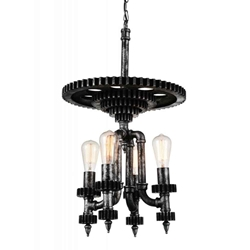 "29"" 4 Light Up Chandelier with Gray finish"