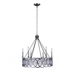"""29"""" 6 Light Candle Chandelier with Gun Metal finish"""