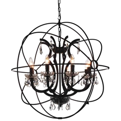 """29"""" 8 Light Up Chandelier with Brown finish"""