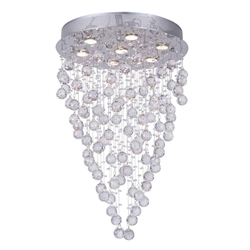 "29"" Raindrops Modern Foyer Crystal Round Chandelier Mirror Stainless Steel Base 7 Lights"