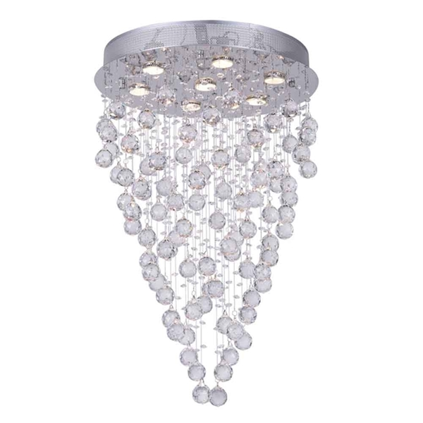 "Picture of 29"" Raindrops Modern Foyer Crystal Round Chandelier Mirror Stainless Steel Base 7 Lights"