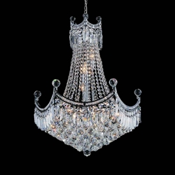 """30"""" 11 Light Down Chandelier with Chrome finish"""