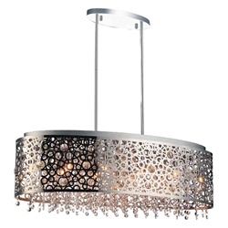"30"" 11 Light Drum Shade Chandelier with Chrome finish"