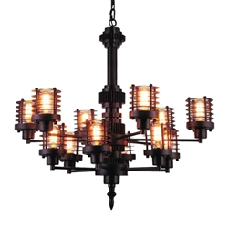 """30"""" 12 Light Up Chandelier with Rust finish"""