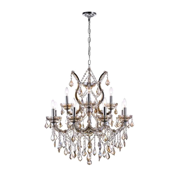 "Picture of 30"" 13 Light Up Chandelier with Chrome finish"