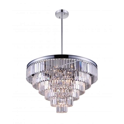 """30"""" 15 Light Down Chandelier with Chrome finish"""
