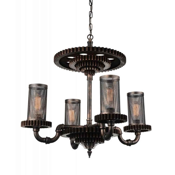 "Picture of 30"" 4 Light Up Chandelier with Rust finish"