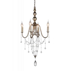 "30"" 4 Light Up Chandelier with Speckled Nickel finish"