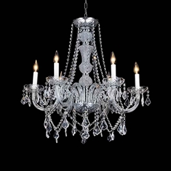 "30"" 6 Light Down Chandelier with Chrome finish"