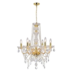 "30"" 6 Light Down Chandelier with Gold finish"