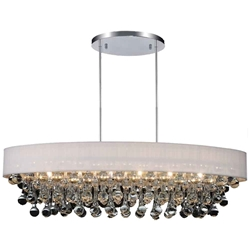 """30"""" 6 Light Drum Shade Chandelier with Chrome finish"""