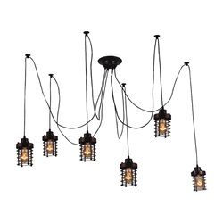 "30"" 6 Light Multi Light Pendant with Black finish"