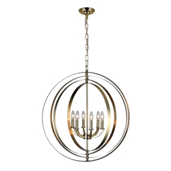 """30"""" 6 Light Up Chandelier with Antique Brass finish"""