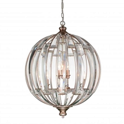 """30"""" 6 Light Up Chandelier with Antique Forged Sliver finish"""