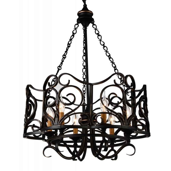 """Picture of 30"""" 6 Light Up Chandelier with Autumn Bronze finish"""