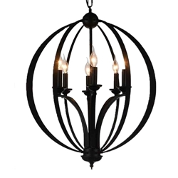 """30"""" 6 Light Up Chandelier with Black finish"""