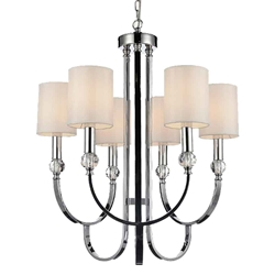 "30"" 6 Light Up Chandelier with Chrome finish"