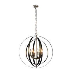 """30"""" 6 Light Up Chandelier with Satin Nickel finish"""