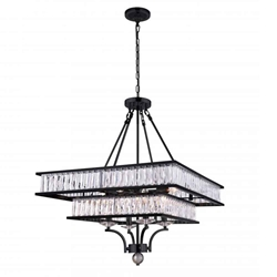 """30"""" 8 Light  Chandelier with Black finish"""
