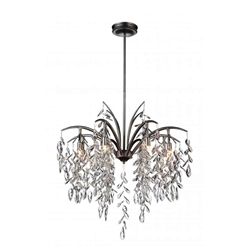 """30"""" 8 Light Down Chandelier with Silver Mist finish"""