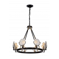 """30"""" 8 Light Up Chandelier with Brown finish"""
