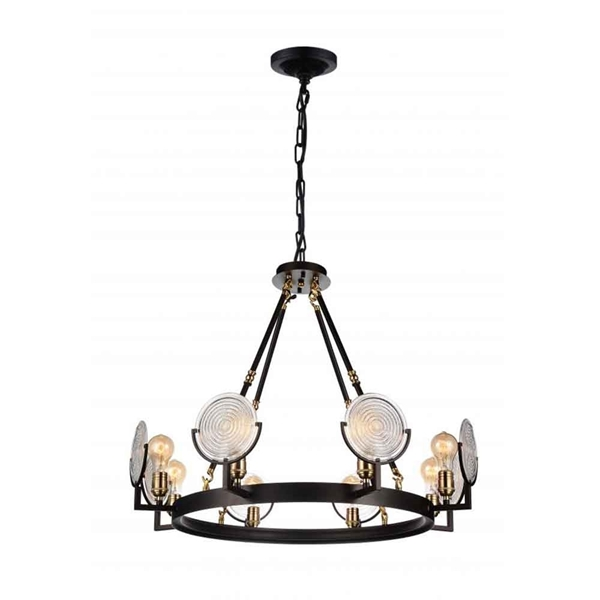 "Picture of 30"" 8 Light Up Chandelier with Brown finish"