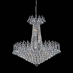 "30"" Elegant Crystal Round Chandelier Chrome / Gold 16 Lights"