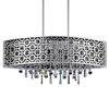 "Picture of 30"" Forme Modern Laser Cut Drum Shade Oval Crystal Pendant Chandelier Stainless Steel 6 Lights"