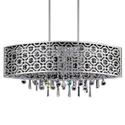 "30"" Forme Modern Laser Cut Drum Shade Oval Crystal Pendant Chandelier Stainless Steel 6 Lights"