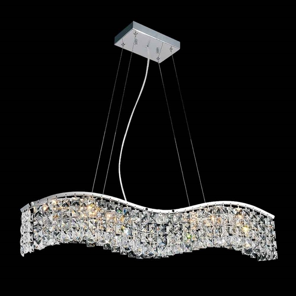 """Picture of 30"""" Gesto Modern Rectangular Wave Chandelier Polished Chrome Clear Crystal 5 Lights"""