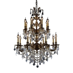 "30"" Imperatore Traditional Crystal Candle Round Chandelier Antique Brass 16 Lights"