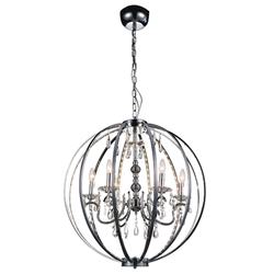 "30"" Led Cage Modern Crystal Round Chandelier Polished Chrome 6 Lights"