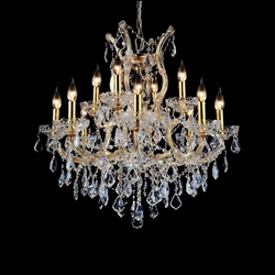 """30"""" Maria Theresa Traditional Crystal Round 2-Tier Chandelier Gold Plated 13 Lights"""