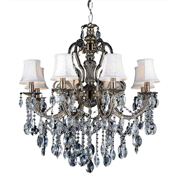 """Picture of 30"""" Ottone Traditional Candle Round Crystal Chandelier Antique Brass Finish 8 Lights without Lamp shades"""