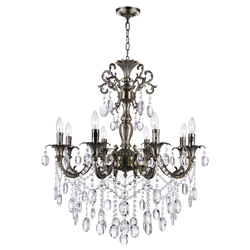 "30"" Ottone Traditional Candle Round Crystal Chandelier Antique Brass Finish 8 Lights without Lampshades"