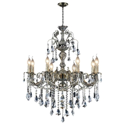 "30"" Ottone Traditional Candle Round Crystal Chandelier Antique Brass Finish 8 Lights without Lamp-shades"